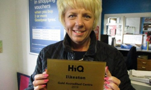 Deborah at HiQ Ilkeston receiving their Gold Standard Award 2019