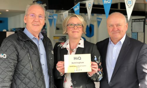 Chris Kisby & Claire Murray- HiQ Nottingham receiving Their Gold Standard Award 2018