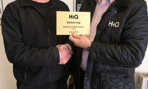 HiQ Kettering- Mick Collins receiving their Gold Standard Award 2018