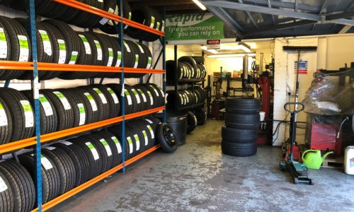 HiQ Worthing tyres in stock in the workshop. All sizes and brands available, from premium to budget.