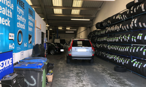 HiQ Rustington workshop- tyres in stock in a range of sizes and brands, from premium to budget.