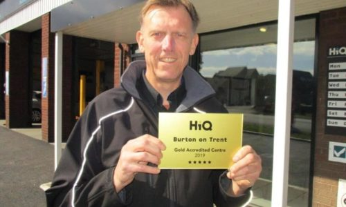 Pete at HiQ Burton receiving their Gold Standard Award 2019