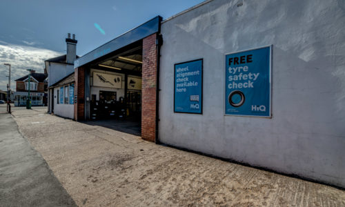 HiQ Burgess Hill from the outside. Come in centre for your free tyre safety check or get your wheels aligned with our new service.