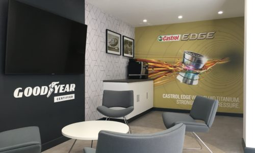 HiQ Castrol Waiting area with TV