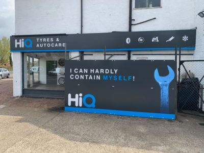 Hi Q Tyres Autocare Horley Exterior with clear sign