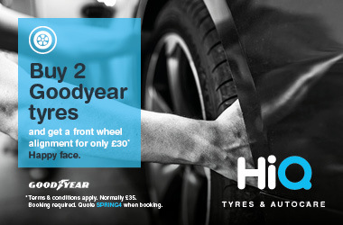 Buy 2 Goodyear tyres & get a front wheel alignment for £30.
