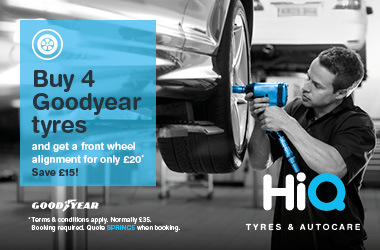 Buy 4 Goodyear tyres and get wheel alignment for £20.