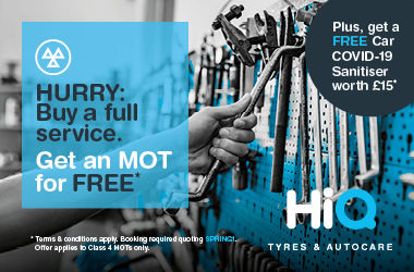 Buy a full service. Get an MOT for FREE*
